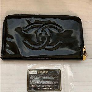 CHANEL Bags - CHANEL Coco Mark Enamel Zipped Long Wallet